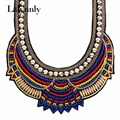 New Choker Necklace Fashion Ethnic Collares Vintage Silver Color Beads Pendant Statement Necklace For Women Jewelry N34051