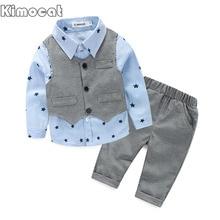 2017 Printemps Bébé Garçon gentleman costume shirt + salopette 2 pcs à manches longues T-shirt de garçons pantalon enfants vêtements enfants vêtements ensemble