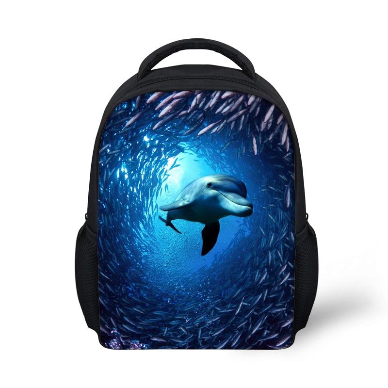 FORUDESIGNS Pienet lapsisäkit, Animal Dolphin Print-reppu koululapsille Tytöt Pojat, Mini Reput Kids Back Bag Bagpack