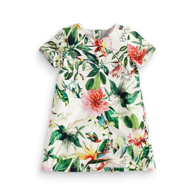 2017 Toddler Girls Green Cotton Dress Summer Children Girl Flower Short Sleeve Party Tutu Dresses 0-5Y 2017 cute children girls cotton dress long sleeve print tutu party dresses toddler kids clothes outfits 1 5y