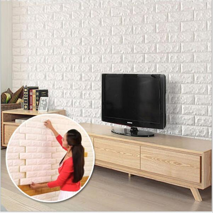 2016 new white 3d modern design brick wallpaper roll vinyl for Vinyl wallpaper for walls