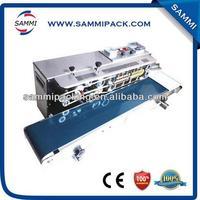 Horizontal plastic film band sealing machine with date coding machine