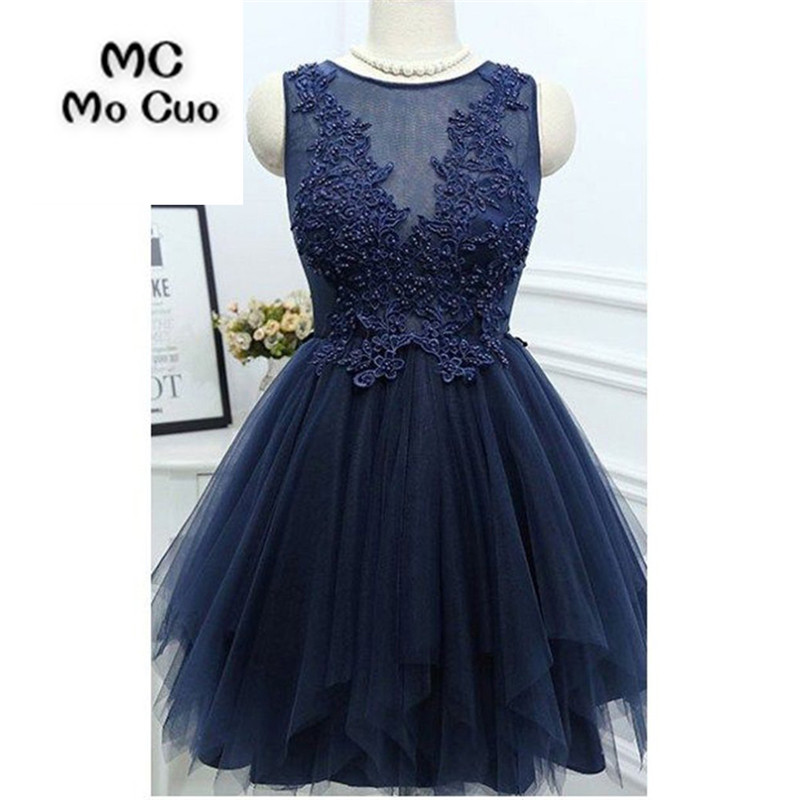 2018 Dark Blue Homecoming Dress Short Cocktail Party Dress With Appliques Pearls Ball Gown Short Homecoming Dress