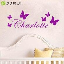 JJRUI Персонализированная бабочка любое имя виниловая настенная декоративная переводная наклейка детская спальня подарок домашние детские декорации комната выбрать 21 цвет