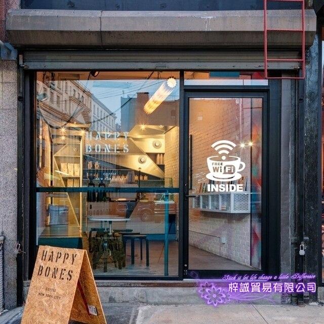 Kawiarnia WiFi Cup naklejka naklejka Cafe plakat Vinyl artystyczne nalepki ścienne Pegatina ozdobne malowidło ścienne naklejka z kawą