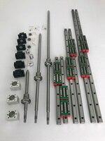 HGR20 Square Linear guide rail 6 set HGR20 400/860/1240mm + SFU1605 350/800/1120/1120mm ballscrew + BK12 BF12 CNC parts