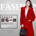 womens genuine shearing sheep fur coat 2016 winter new fashion thick warmful outerwear trench coats hooded woman clothing
