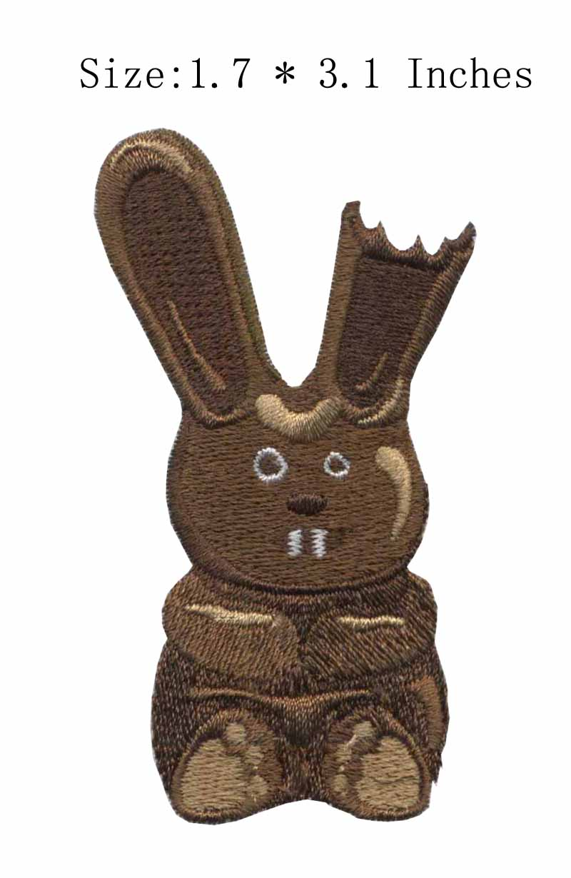 The brown color rabbit 1.7wide embroidery patch for so cool/ leisure/the two big teeth