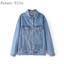 Future Time Women Denim Jackets Casual Solid Washed Coats Female Long Sleeve Pockets Jeans Jackets Ladies Bottoms Outwear WT142
