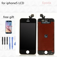 Freeship 100% guarantee LCD For iPhone 5 LCD Screen Display With Touch Screen Digitizer Assembly Black with free shipping