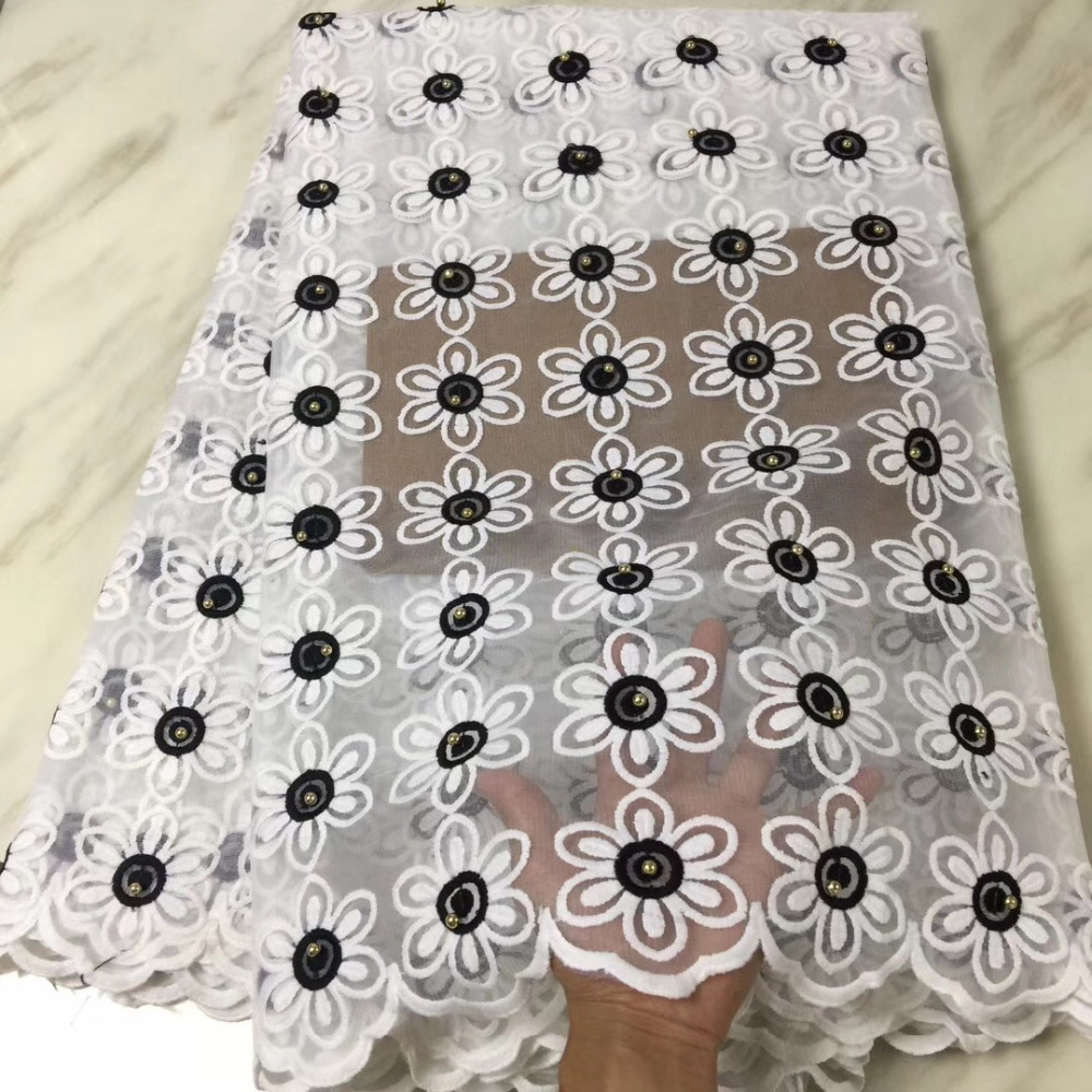 Latest Style White Beaded Lace Fabric 2018 Fashion African Lace Fabric Tulle African French Lace Fabric