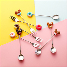 Food Studio Photography Props Cartoon Tableware Fruit Fork Dessert Spoon For Tabletop Shooting Background Accessories