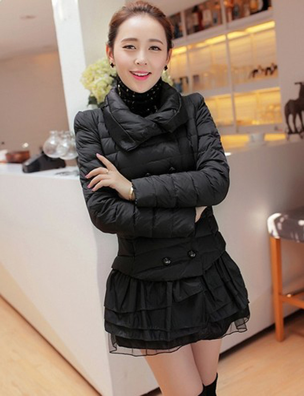 2014 New women winter patchwork jackets stand collar full sleeve solid coats double breasted lace Ruffles Parkas M-2XL E351 автоинструменты new design autocom cdp 2014 2 3in1 led ds150