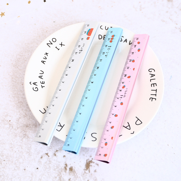 Strawberry Fruit Triangle Metal Ruler Measuring Straight Ruler Tool Promotional Gift Stationery