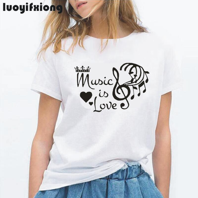 Fashion Music Is Love Printed <font><b>Women</b></font> <font><b>Tshirt</b></font> Short Sleeve Hipster Graphic Funny Shirt Tee Shirt Femme Summer Casual Camiseta Mujer image
