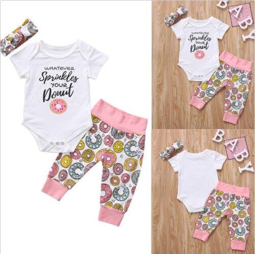 3PCS Newborn Baby Girl Clothes Headband Jumpsuit Romper Pants Legging Outfit Set