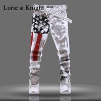 Mannen USA Vlag Slim Fit Denim Jeans Mode Broek