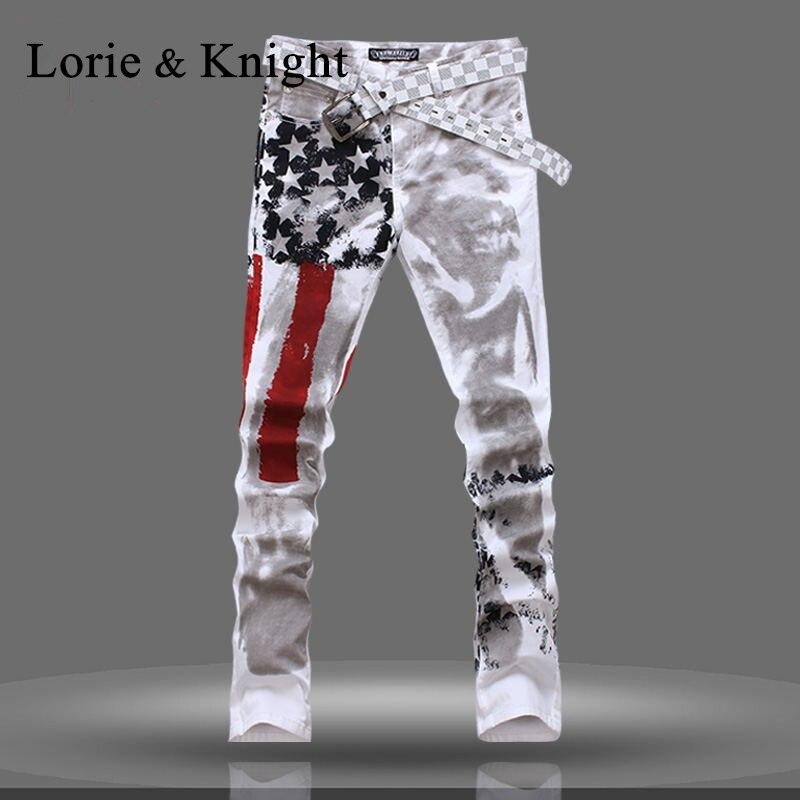 Mens USA Flag Slim Fit Denim Jeans Fashion Pants