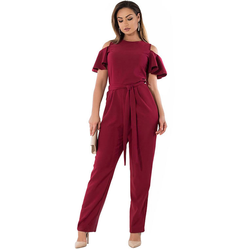 2018 Summer Fashion Ruffles Short Sleeve Jumpsuits Plus Size Redwine 5XL 6XL Women Off-shoulder Sashes Rompers Big Size Overalls