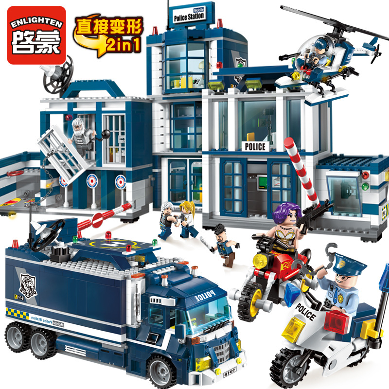 ENLIGHTEN Educational toys Building Blocks 951Pcs City Series Mobile Police Station Helicopter Model Bricks Toys for children sermoido 02012 774pcs city series deep sea exploration vessel children educational building blocks bricks toys model gift 60095