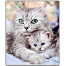 цена 5D Diy Diamond Painting Cross Stitch Cat Mom & Kitten Needlework Diamond Embroidery Full Round Mosaic Decoration Resin Stickers онлайн в 2017 году