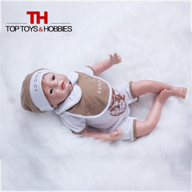 Soft Silicone Vinyl Dolls 22inch Doll Reborn Baby Boy Brown Wig Handmade Cotton Body Lifelike Bebe Juguetes Children Toys