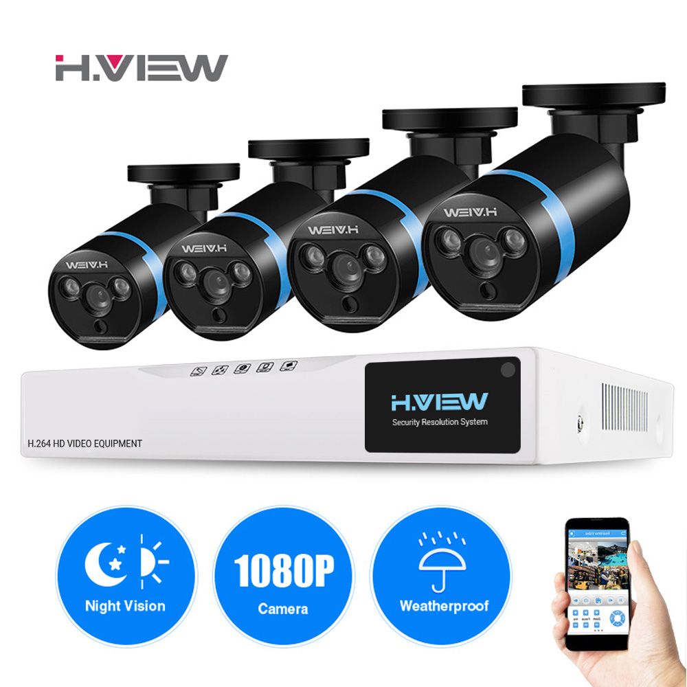 H VIEW 4ch CCTV Surveillance Kit 4 1080P Cameras Outdoor Surveillance Kit IR Security Camera Video