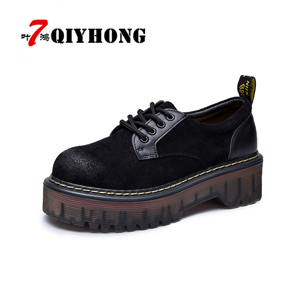 QIYHONG Spring High Quality Women Oxfords Flats Platform Shoes Patent Genuine Leather Lace-Up Round Head Creeper Black Loafers high quality women oxfords low heel casual shoes patent leather tassel comfort slip on round toe creeper black loafers