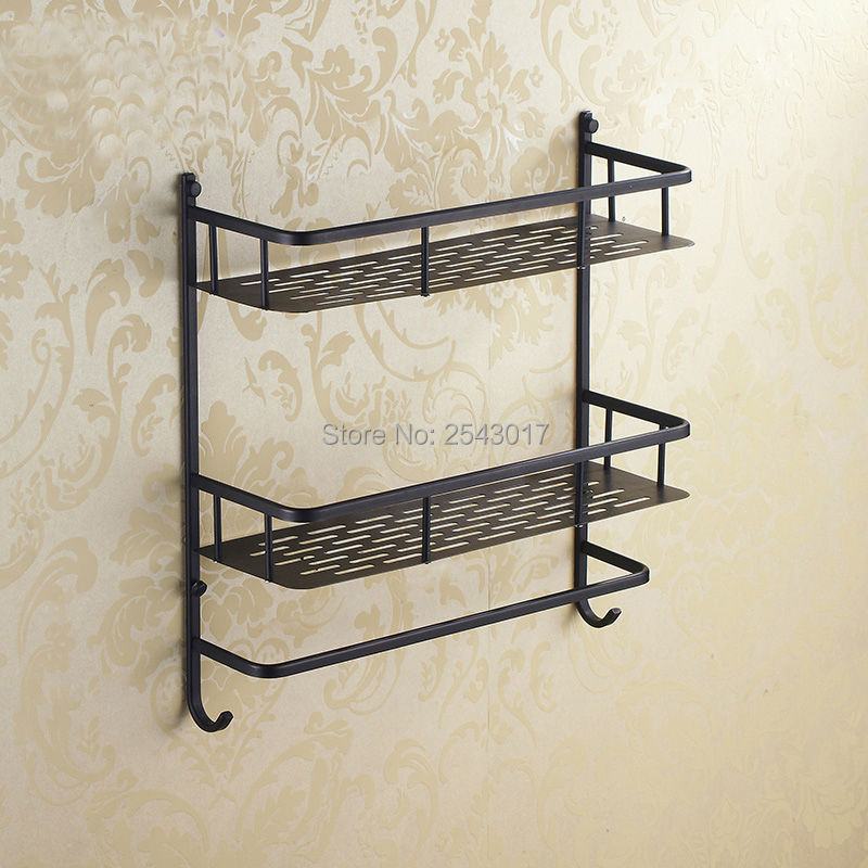 ФОТО Wholesale and Retail Euro Black Basket Shelf Towel Rack Double Layer Bathroom Cosmetic Shower Shampoo Storage Rack ZR2528