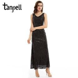 Длинное вечернее платье Tanpell, черное платье с блестками и треугольным вырезом, без рукавов, длиной до щиколотки, платье прямого силуэта, недо...