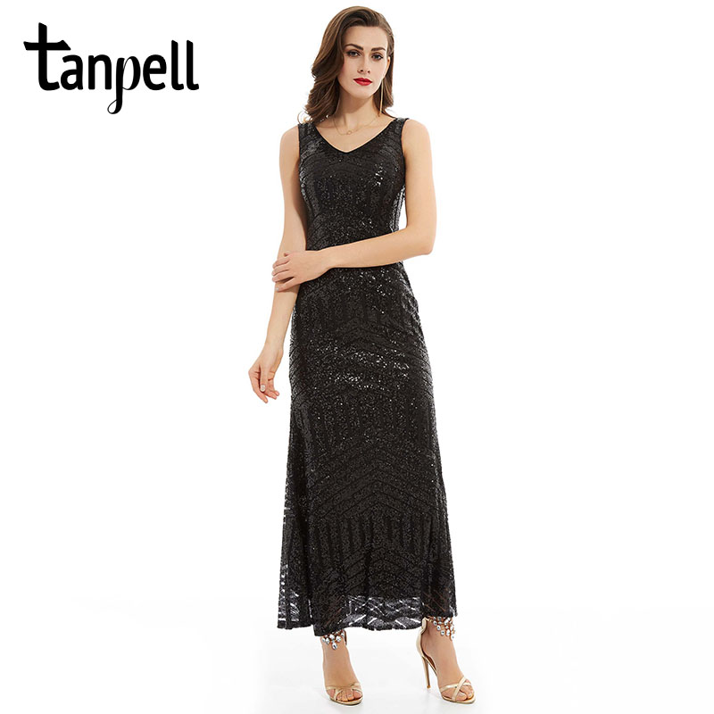 Tanpell Sequins Long Evening Dresses Black V Neck Sleeveless Ankle Length Straight Dress Cheap Women Party Formal Evening Gown