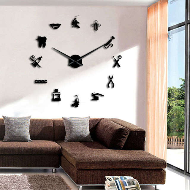 1piece Dentist Clinic Bussiness Sign Decorative Large 3d Wall Clock