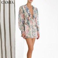 CAMIA 2019 new ZIM jumpsuit printed ruffled chiffon bohemian beach jumpsuit summer woman jumpsuit