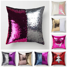 Fuwatacchi Throw Pillowcases Mermaid Sequins Cushion Cover Reversible Sequin For Sofa Chair Decor Magical 40*40cm