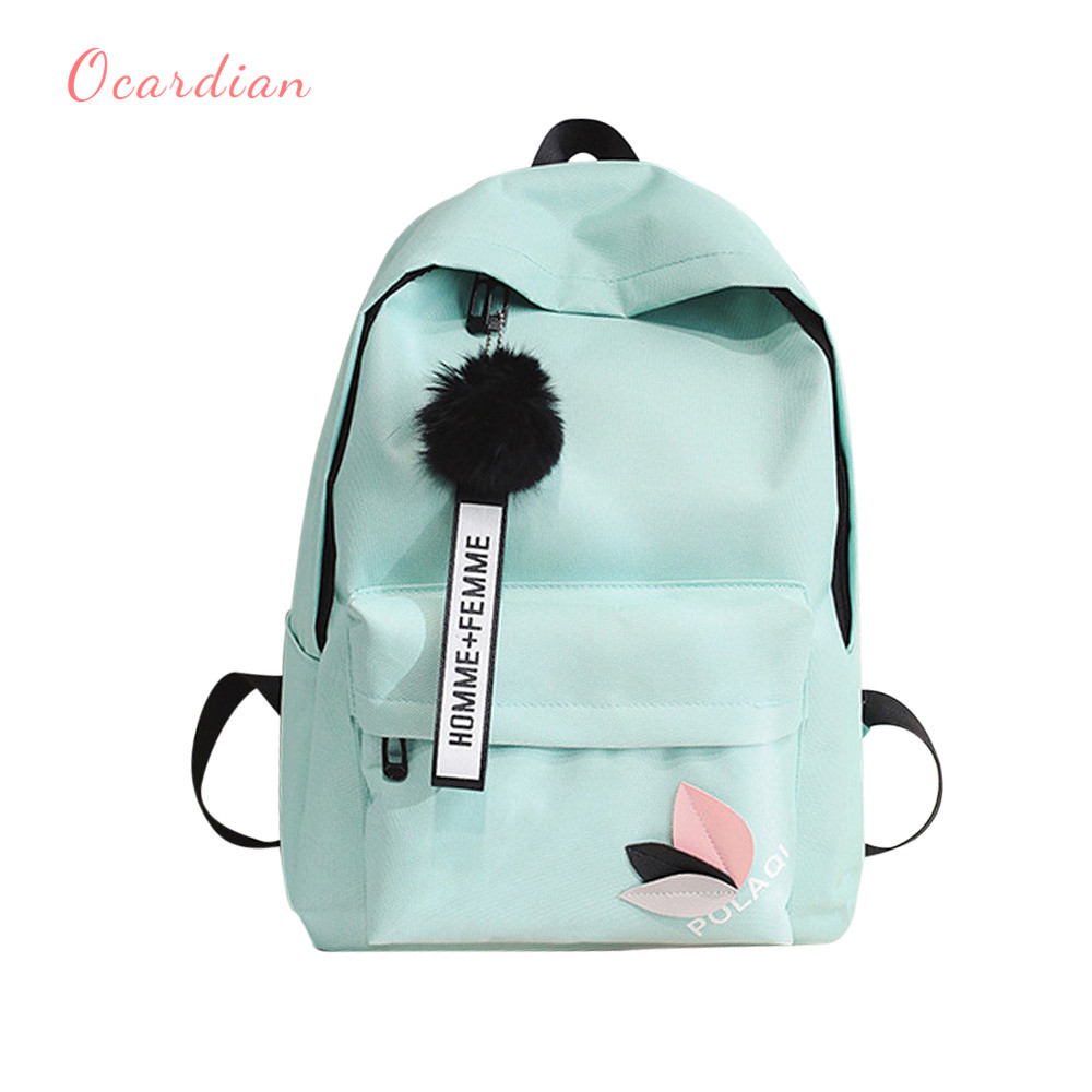 a88bcb31f674 Ocardian women backpack pure color hairball backpack female for school in  korean style school backpack A 27-in Backpacks from Luggage   Bags on ...