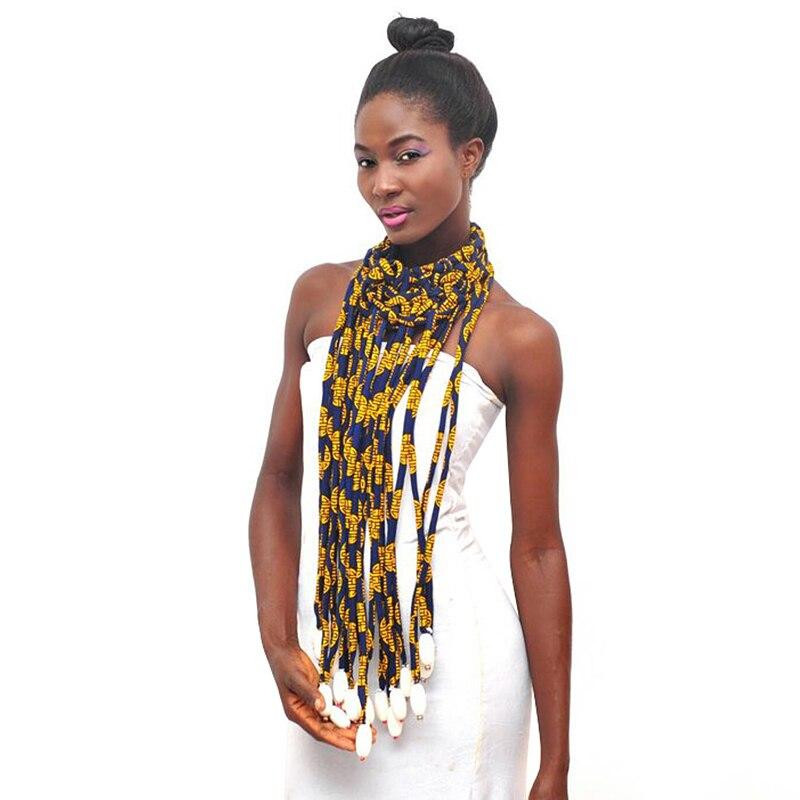 2019 africain Ankara colliers cire impression tissu coloré collier châle africain Ankara fait main collier Tribal bijoux SP016