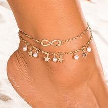 ZCHLGR Cute Letter Infinity Love Anklet & Bracelet Imitation Pearl star Multilayer Chain Ankle Braclet for Women Summer Beach chic multilayer small bells anklet for women