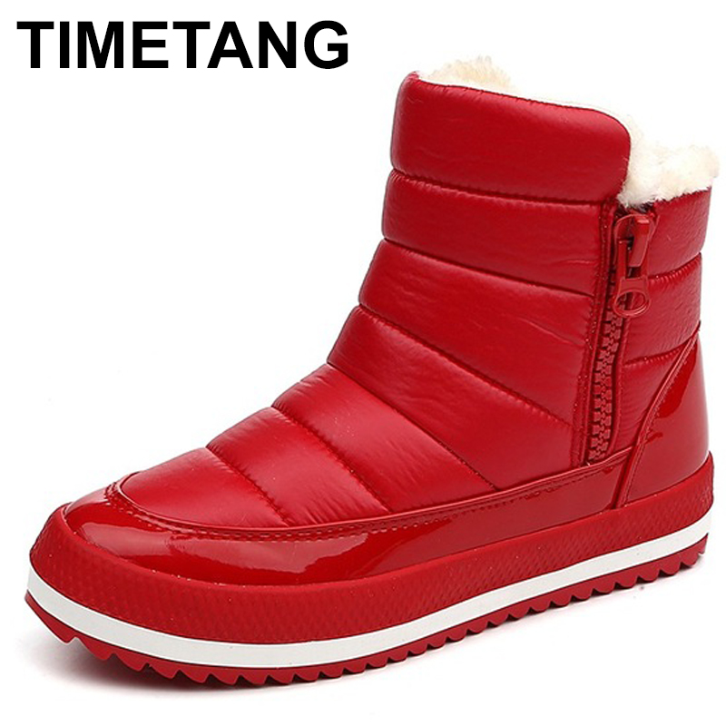 TIMETANG Women Boots Shoes Woman Botas Mujer 2018 Women's Winter Shoes Woman Warm Winter Snow Boots Ankle Waterproof Winter C081 superstar women s snow boots add plush fashion warm shoes tube in warm winter mujer shoes flat ankle botas woman zapatos 444