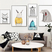 Nordic Simple Lovely Little Animal Cartoon Abstract Poster Wall Art Canvas Painting Home Picture Decoration