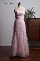 Trend Fashion 2018 Pink Bridesmaid Dresses Long One Shoulder Tulle Dress For Wedding Guest Vestidos Longos