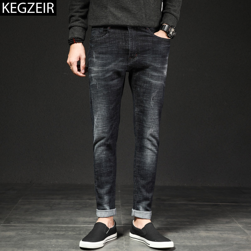 75de4b1885e KEGZEIR 2019 новые классические модные джинсы мужские повседневные Slim Fit  мужские s джинсы Брендовые стрейч джинсы