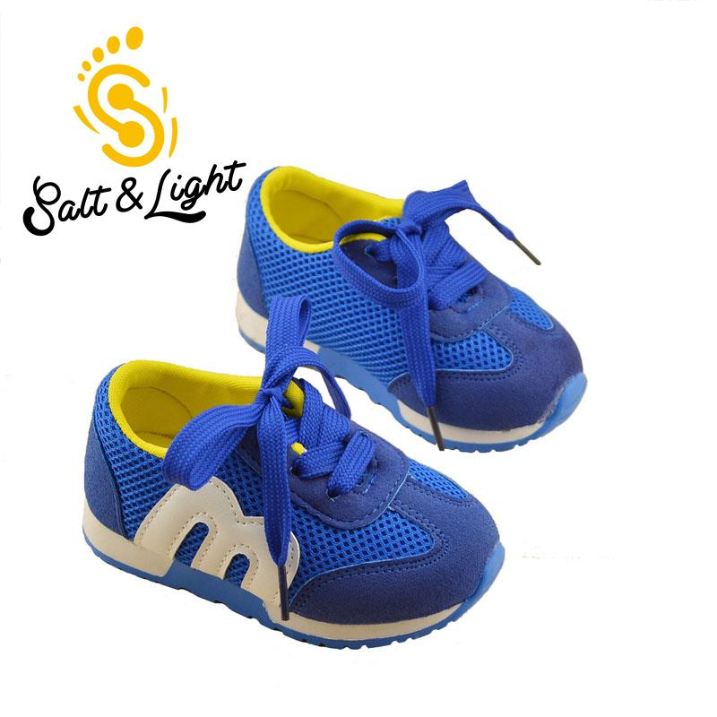 JUSTSL 2016 Autumn Children's Sports Casual Soft Bottom Running Shoes Lace Mesh Shoes Fashion Sneakers For Boys Girls