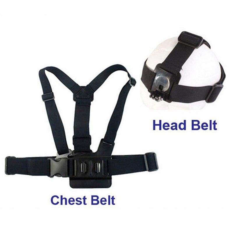 Correa arnés cinturón elástico ajustable + correa de cabeza para gitup, gopro hero 3 +/3/2/1, SJ4000 SJ5000 SJ7 SJ6 M20 Cámara