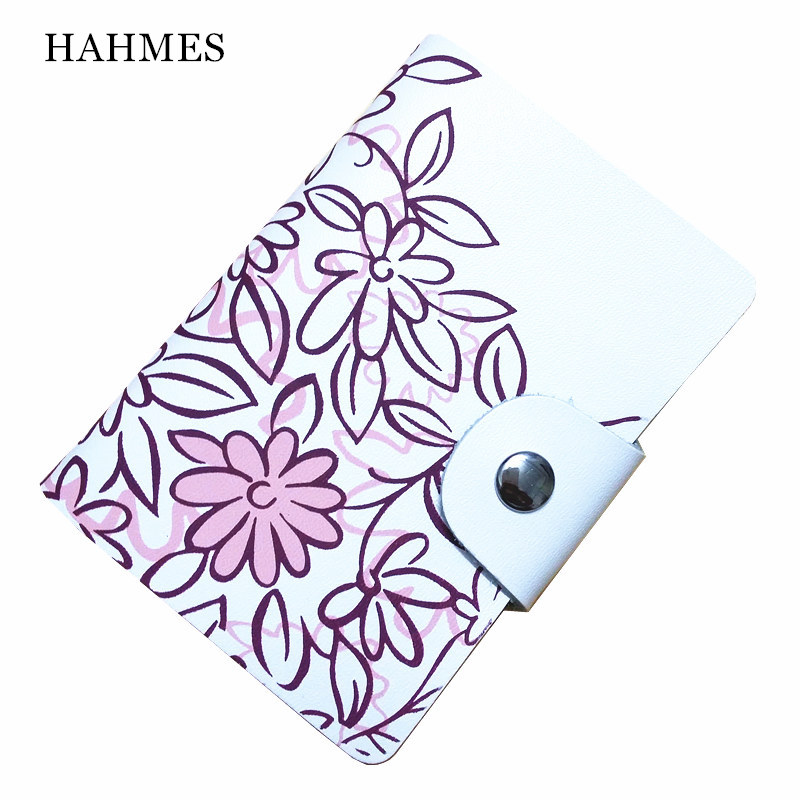 High quality Genuine leather business card holder women flower design credit card holder book ID card case gift