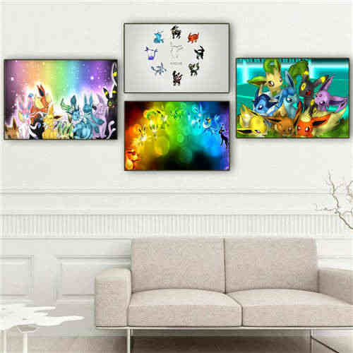 Custom Canvas Poster eevee  (20) Printing Posters Cloth Fabric Wall Art  Pictures For Living Room Decor#18-12-05-H-04-197