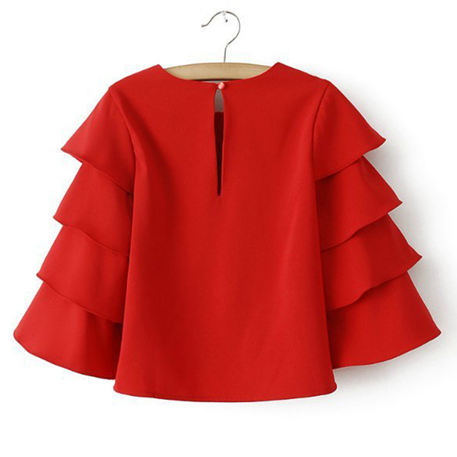 Korean Style 2016 Spring Red Crop Top Blouse O Neck Petal Ruffles 3/4 Sleeved Short Loose Casual Blouse & Shirt Female Clothing