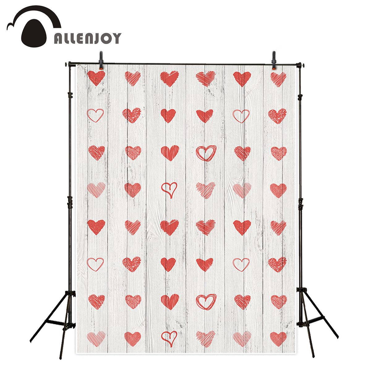 Allenjoy professional photography background Vintage white Wooden board red hearts romantic wedding backdrop newborn photocall
