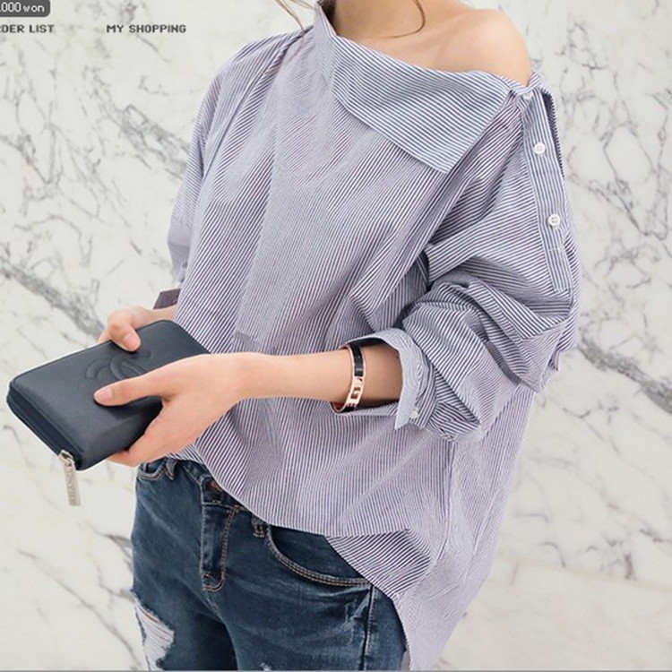 2017 New Summer Autumn Fashion Women Shirts Batwing Full Sleeve Striped Loose Oblique Collar Blouse Shirt Top Blue 1269