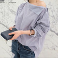 2017 Nova Moda Primavera Mulheres Camisas Batwing Completo Manga Listrada Solto Oblique Collar Blusa Top Camisa Azul 1269