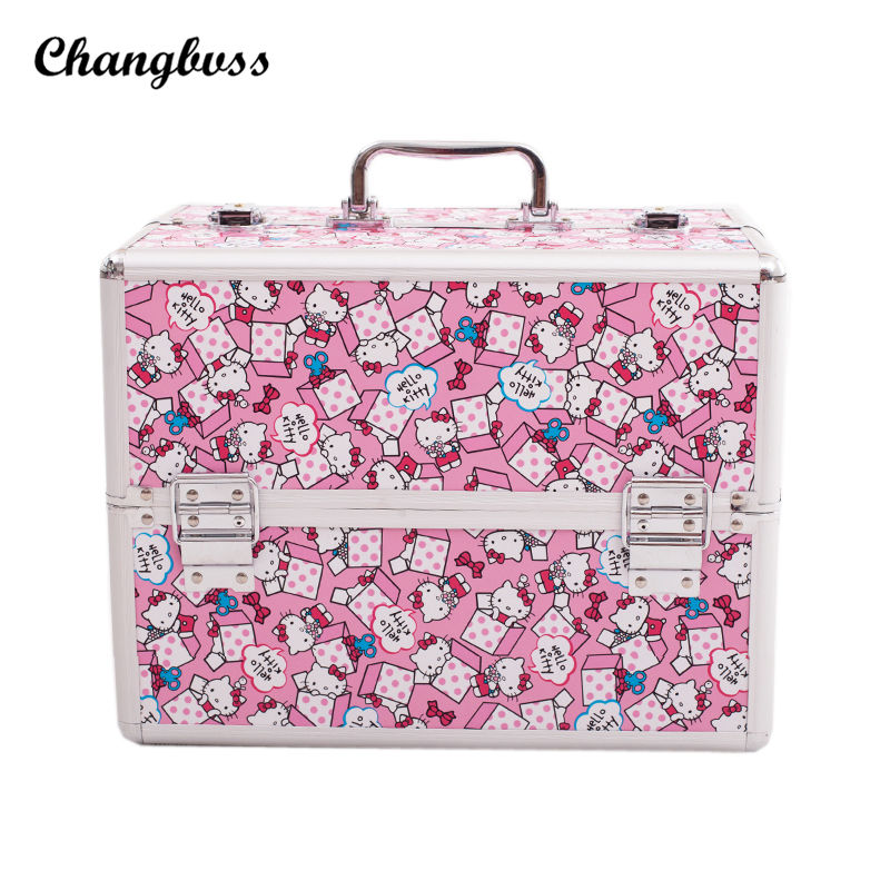 все цены на Princess Style Cute Cats Pattern Cosmetic Bag Pink Portable Women Travel Makeup Organizer Pouch Large Size Make Up Jewelry Box онлайн